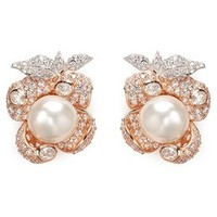 Anabela Chan 'Mini Blossom' pearl diamond pavé 18k rose gold earrings