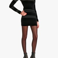 Balmain - Cotton velvet mini dress with transparent details - Women's dresses