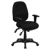 Mid-Back Multi-Functional Black Fabric Swivel Computer Chair