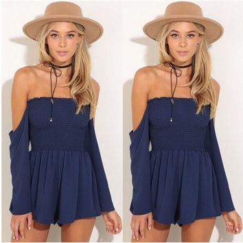 Navy Off the Shoulder Pleated Romper