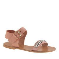 J.Crew Womens Ankle-Strap Jeweled Sandals