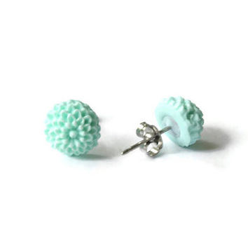 Polymer Clay Earrings, Tiny Earrings, Mint Earring, Mint Green, Polymer Clay Jewelry, Jewellery, Jewlery, Mint Earrings, Mint Earings, Studs