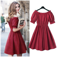 Red Puff Sleeves Off Shoulder Ruched Swing Mini Dress