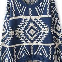 Fashion blue totem sweater from Fanewant