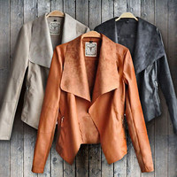New Women Punk Slim Biker Motorcycle Short Jacket Lapel PU Leather Coat Outwear woman jackets