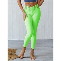 Splicing Light Green Solid Color Yoga Pants Hollow High Rise
