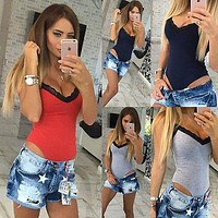 Women Sexy V-neck A Body Lace Sleeveless Bodysuit Overalls Onesuit Da Club Jumpsuit woman female clothes