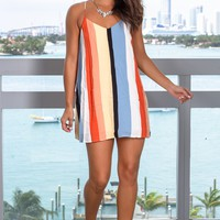 Orange Striped Tank Short Dress