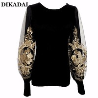 Embroidery Sweaters Pullovers Women Floral ribbed tops Lantern Sleeve Oversized Female Black Sweater Jumpers korean sweater