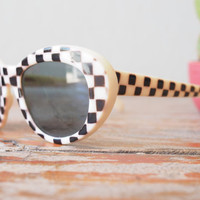 Vintage Sunglasses 1960's Pop art Checkered Frame Black And White made in Italy