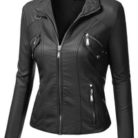 J.TOMSON Womens Faux Leather Bomber Jacket