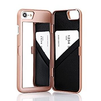 """iPhone 7 Case,Wetben Hidden Back Mirror Wallet Case with Stand Feature and Card Holder for Apple iPhone 7 , 4.7"""" (Rose Gold)"""