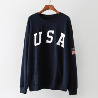 Loose cotton letter USA printing - round collar set of long sleeve shirt female head Navy blue