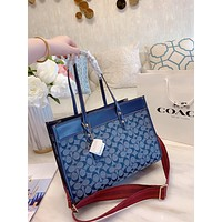 COACH New fashion pattern canvas shoulder bag crossbody bag handbag two piece suit Blue