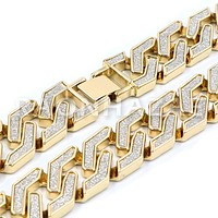 14K Gold Plated Glitter SandBlasted Curb Hex 18mm Cuban Chain