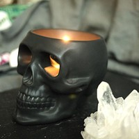 Skull Candle Holder Silver, Black or Gold Decoration