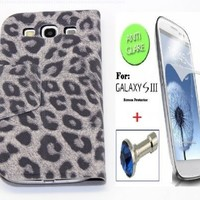 """Grey"" Leopard Faux Leather Bracket Flip Skin Stand Case Cover Wallet With Magnetic Closure For Samsung Galaxy S3 / SIII (INCLUDED: MATTE, ANTI-GLARE FRONT SCREEN PROTECTOR + DIAMOND EARPHONE DUST PLUG)"