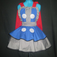 Thor Inspired Cosplay Apron Pinafore With Attached Cape