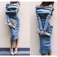 Fashion bodycon word collar dress