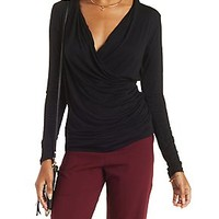 RUCHED LONG SLEEVE WRAP TOP