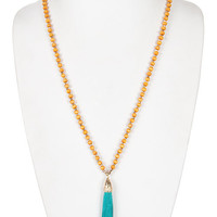 Long Beaded Suede Tassel Necklace - Yellow/Turquoise or Turquoise/Gray