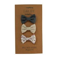 Classic Baby Girl Bows - 3-Pack Alligator Clip Hair Bows for Infants - By Clara Josie
