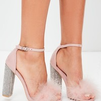 Missguided - Pink Glitter And Feather Block Heel Sandals