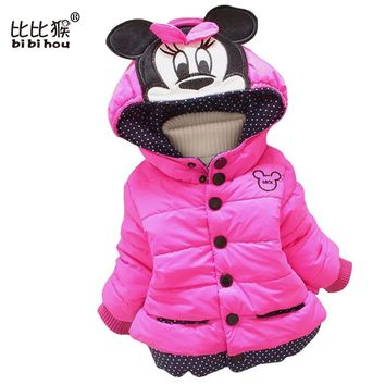 Retail Minnie coat Children girls jacket Outerwear Baby Girls Mouse Coats Winter Jacket Kids Children Warm Clothing Down Parkas