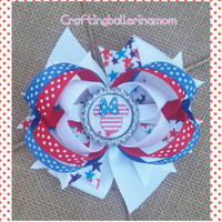 Minnie Mouse 4th of July Hair Bow - Baby Girl 4th of July Hair Bow - Toddler Patriotic Hair Bow - Disney 4th of July Bow - Minnie Polka Dot