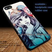Ariel The Little Mermaid Drawing iPhone 6s 6 6s+ 5c 5s Cases Samsung Galaxy s5 s6 Edge+ NOTE 5 4 3 #cartoon #disney #animated #theLittleMermaid DOP35