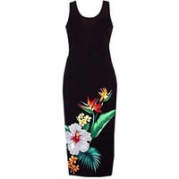tropic hawaiian long tank dress