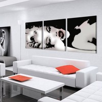 Sexy Marilyn Monroe Black White Abstract Canvas Panel Wall Art Picture Print
