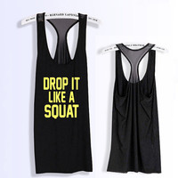 Drop it like a squat  workout  fitness racerback tank top black and pink with mesh  PK_348