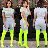 Champion Popular Woman Leisure Print Luminous Top Shorts Sport Set Two Piece Grey