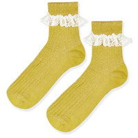Lace Trim Ankle Socks - Mustard