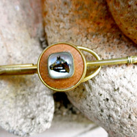 1940s Equestrian Gold and Leather Tie Bar // Riding Crop // Horse Portrait Under Glass // Gift for Him