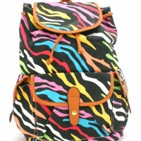 B35 WOMENS LADIES MULTI ZEBRA PRINT RETRO NOVELTY RUCKSACK BACKPACK SHOULDER BAG - SHU CRAZY