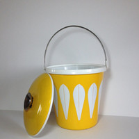 Cathrineholm Lemon Yellow Lotus Ice Bucket Large Insulated Mid Century Modern Ice Bucket to Chill Wine Rare Vintage Enamelware 1960s