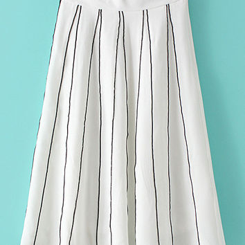 White Vertical Stripe Zipper Pleated Skirt