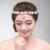 Accessory Korean Rhinestone Pearls Pendant Alloy Headwear Wedding Dress Prom Dress [6258315654]