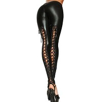 Punk Leggings Women Sexy Like Lace Black Faux Leather Gothic Wet Look Clubwear Latex Legging Pants   99 -MX8