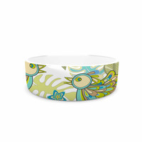 "Julia Grifol ""Summer Birds"" Green Lime Pet Bowl"