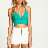 GREEN PLUNGE X BACK CROP TOP