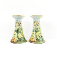 Antique Candlesticks / Set of 2 / Porcelain Vintage Candle Holders / V.P.T Germany / Floral Decor / Collectible Home Accents