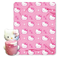"Sanrio ""Hello Kitty, Pink HK's"" Fleece Throw with Hugger, 40 by 50-Inch"
