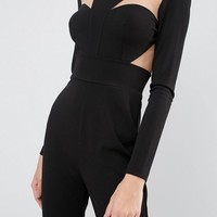 ASOS Jumpsuit with Cup & Mesh Detail at asos.com