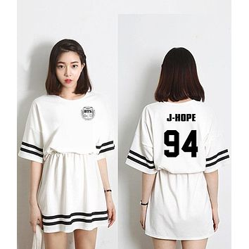 2017 new arrival summer kpop bts bangtan boys member name printing women dress fashion high waist o neck short sleeve vestidos