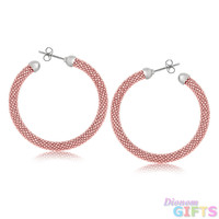 Sterling Silver Rhodium Rose Gold Plated Popcorn Hoop Earrings with Dome Ends