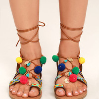 Accalia Whiskey Brown Lace-Up Pompom Sandals