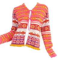Vintage 90s Oilily Sweater -Women's Fair Isle Cardigan Pink Yellow Violet Tie Front Made in Italy Colorful Striped Knit Sweater Size Medium